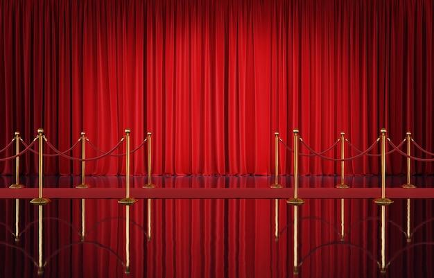 Theaterpodium met rode gordijnen en gouden 3d barrière