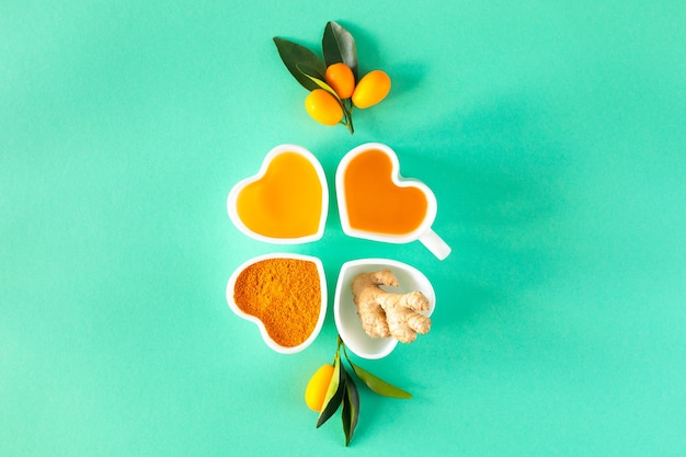 Thee met citroen en honing, immuniteitsverhogende en verkoudheidsremedies, bovenaanzicht.