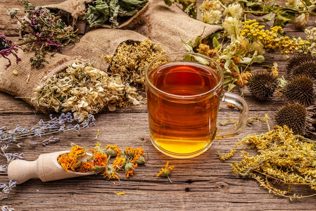 Thee met honing. kruidenoogstcollectie en boeketten van wilde kruiden. alternatief medicijn. natuurlijke apotheek, zelfzorgconcept