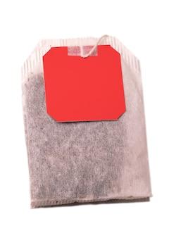 Theezakje met rood label