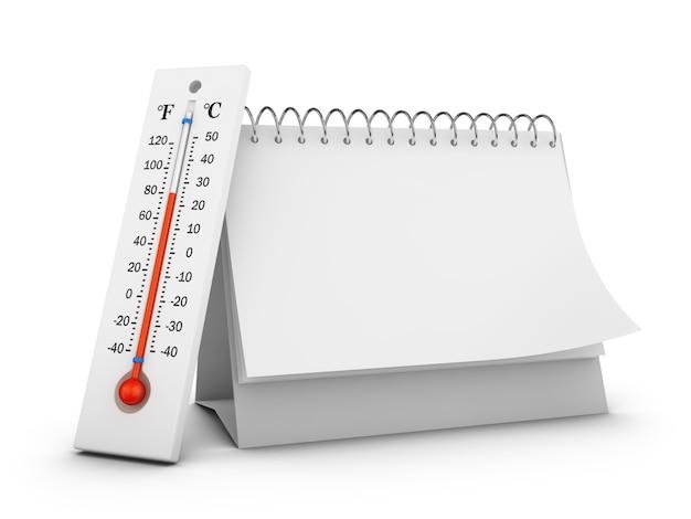 Thermometer en lege desktopkalender op een witte achtergrond. 3d render.