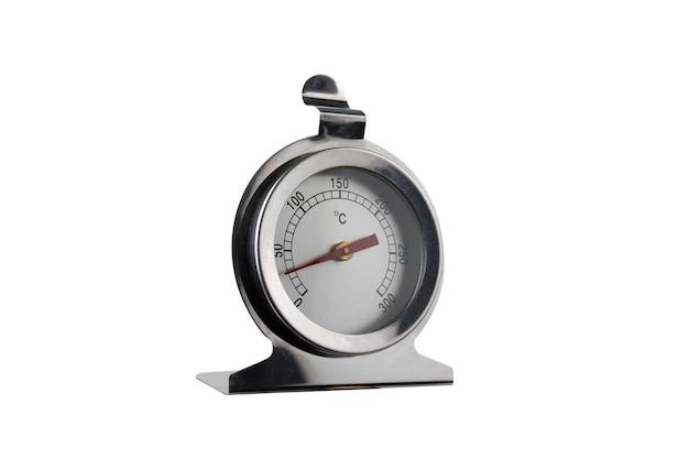 Thermometer met een rode pijl met cijfers. analoge meetapparatuur meter op een witte achtergrond. . geïsoleerd.