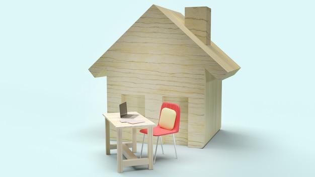 Thuis- en werkstation 3d-rendering voor werk vanuit huisinhoud.