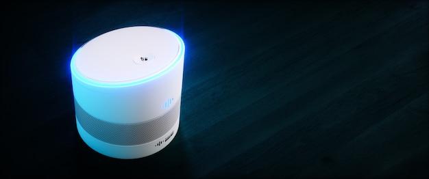 Thuis intelligente spraakgestuurde assistent. 3d-renderingconcept van witte hi-tech futuristische kunstmatige intelligentie spraakherkenningstechnologie op donkerblauwe houten achtergrond. ultrabreed beeld.