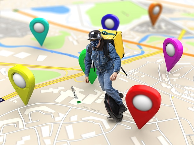 Thuisbezorging, voedselaankoop via internet. bezorger op eenwieler die aankomt op elk adres wereldwijd op de kaart bij uw bestelling.