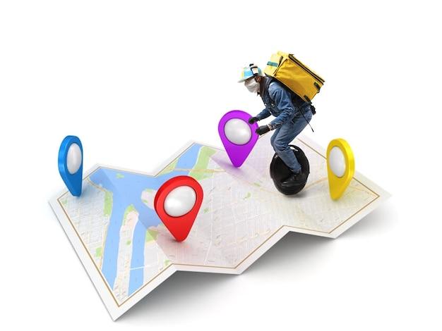 Thuisbezorging, voedselaankoop via internet. bezorger op eenwieler die bij uw bestelling aankomt op elk adres op de kaart. man haast zich naar het afleverpunt met thermotas. koeriersdienst, veiligheid.