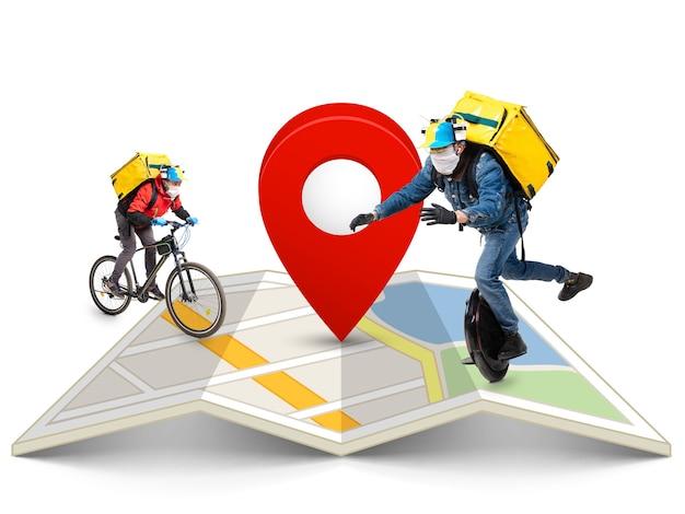 Thuisbezorging, voedselaankoop via internet. bezorgers op eenwieler en fiets arriveren op elk adres wereldwijd op de kaart bij uw bestelling.