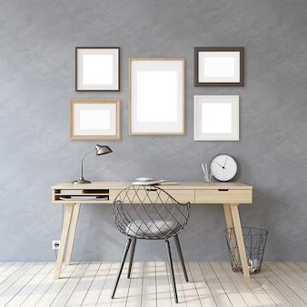 Thuiskantoor. mockup voor interieur en frame. houten bureau dichtbij grijze muur. verschillende soorten kozijnen op de grijze muur. 3d render.