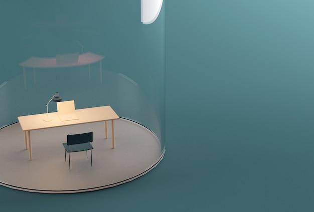 Thuiskantoor onder glazen koepel. isolatie tijdens covid-19 pandemische quarantaine