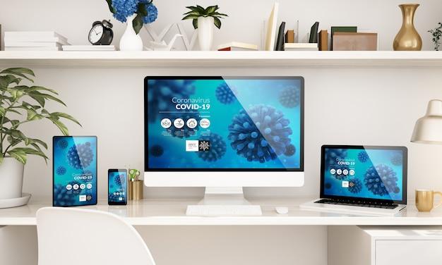 Thuiskantoor opgezet met responsieve apparaten die coronavirus-info 3d-weergave tonen