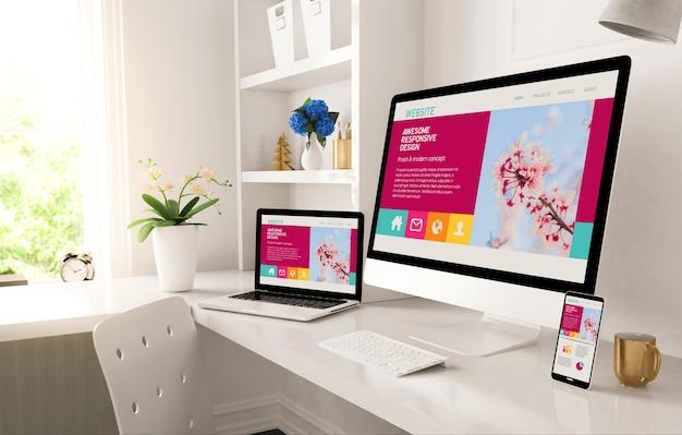 Thuiskantoor opgezet met resposnive ontwerp op scherm 3d-rendering