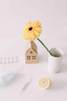 Thuisonderwijs en thuiswerken tijdens quarantaine blijf thuis voor viruspreventie