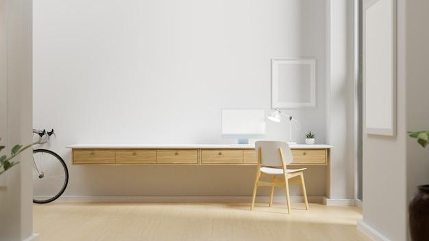 Thuiswerkruimte met computer op het tafelmodel aan de muur en fiets in de kamer 3d-rendering