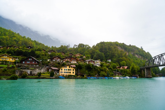 Thun lake met interlaken city