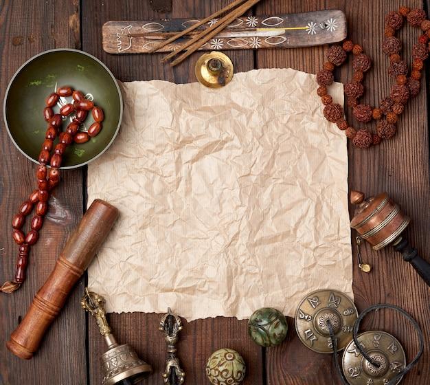 Tibetaanse religieuze voorwerpen voor meditatie en alternatieve geneeskunde