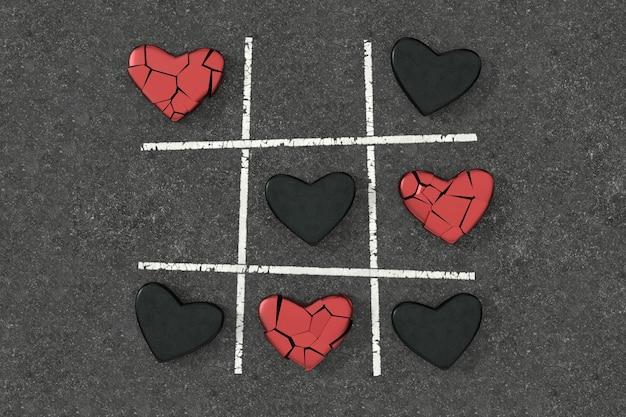 Tic tac toe-spel met hartvorm. 3d-weergave.