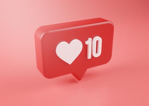 Tien liefde meldingspictogram 3d-rendering op roze achtergrond