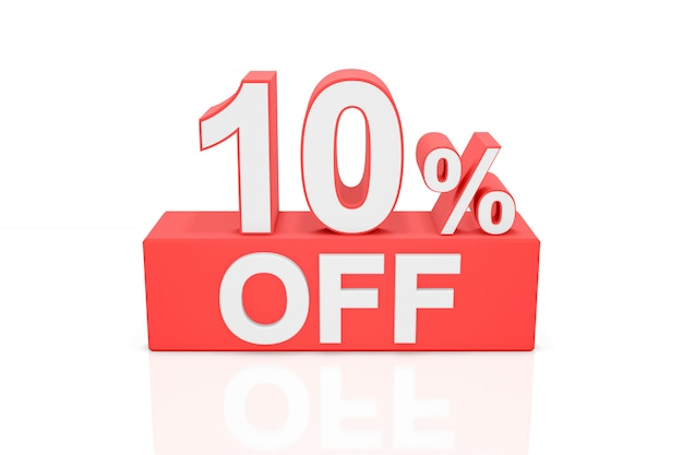 Tien procent korting. verkoop banner. 3d-weergave