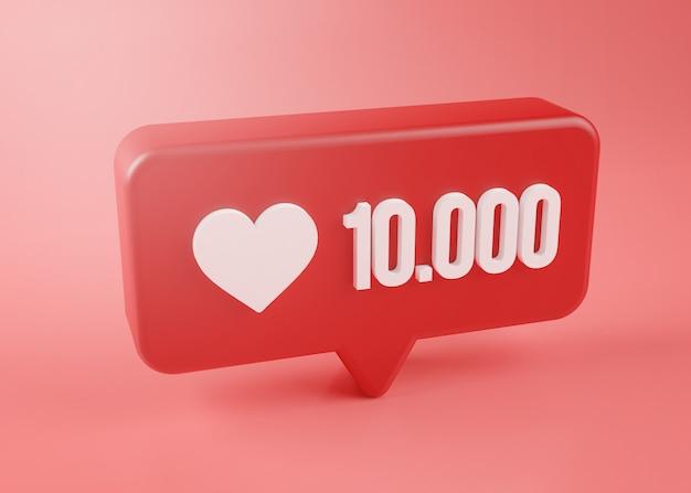 Tienduizend liefde meldingspictogram 3d-rendering op roze achtergrond