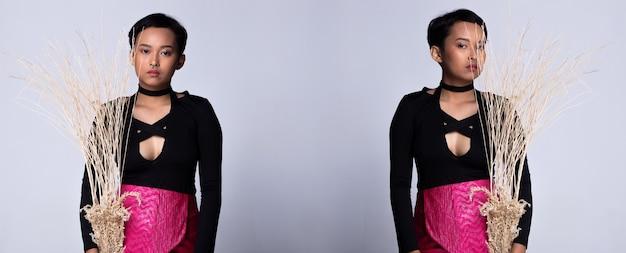 Tiener, jonge, aziatische vrouw, als, kort, model, slijtage, zwart hemd, en, neon roze, kort rokje, gehouden, gedroogd, tak, boompje, met, neusring, studio, verlichting, grijze, achtergronden, geïsoleerde, collage, group pack, verticaal