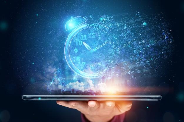 Tijd beheer concept. tijd is vluchtig, dead line, het verstrijken van de tijd. kopieer ruimte.