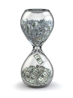 Tijd is geld. inflatie. zandloper en dollar. 3d