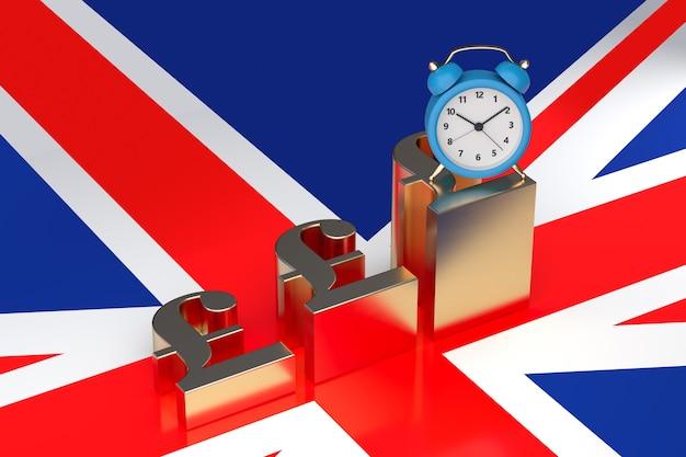 Tijd is geldconcept met de vlagachtergrond van groot-brittannië. 3d-rendering