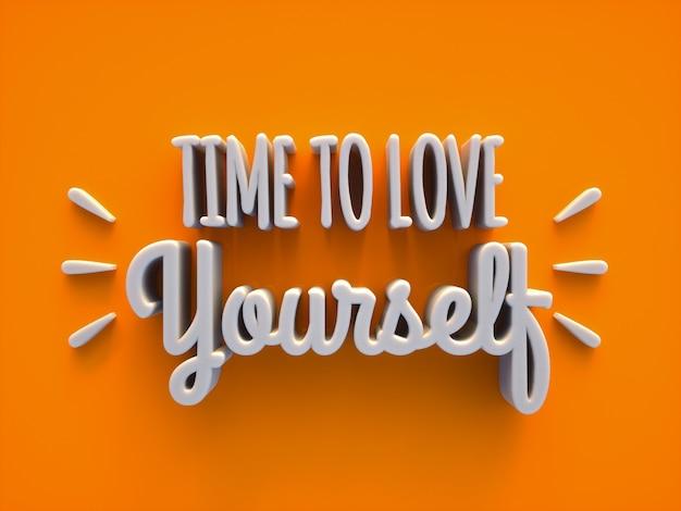 Tijd om van jezelf te houden creatieve 3d-tekst op een oranje achtergrond