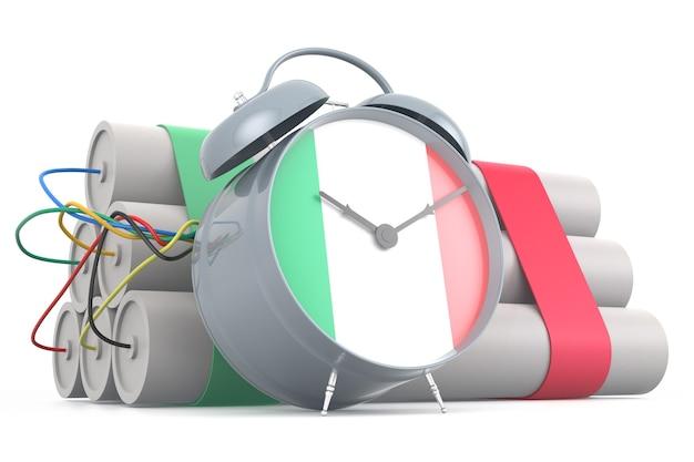 Tijdbom met italiaanse vlag. 3d-rendering
