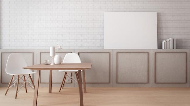 Tijdloos eetkamermuur poster mock-up / 3d-rendering interieur