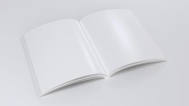 Tijdschrift duidelijk model open notitieblok schetsblok leeg sjabloon blanco papier notitie perspectief weergave