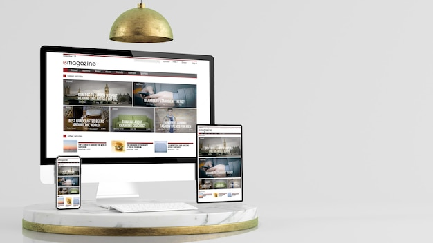 Tijdschrift responsieve ontwerpwebsite over apparatencollectie op elegante platform 3d-weergave