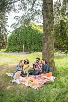Tijdverdrijf. groep jongeren die op plaid zitten met etensdrankjes en gitaar die rust hebben bij picknick in groen park