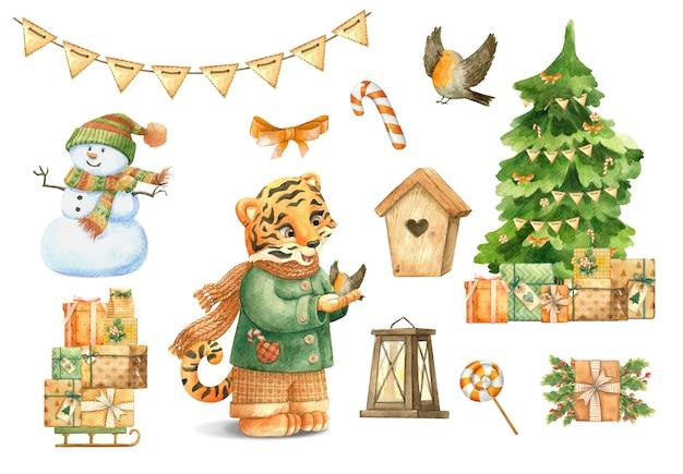 Tijger winter sneeuwpop dennenboom geschenkdozen guirlande vogel lamp vogelhuisje snoep lolly kerst