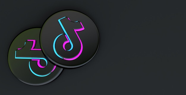 Tiktok app-pictogram geïsoleerd op een zwarte achtergrond, social medianetwerk voor video