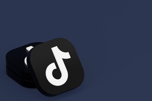 Tiktok applicatie logo 3d-rendering op blauwe achtergrond