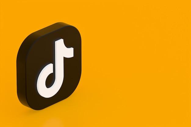 Tiktok applicatie logo 3d-rendering op gele achtergrond