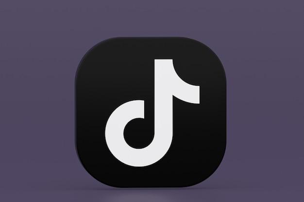 Tiktok applicatie logo 3d-rendering op paarse achtergrond