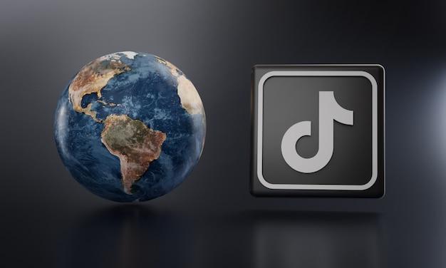 Tiktok-logo naast earthrender.