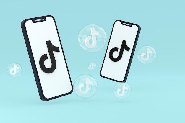 Tiktok-pictogram op scherm mobiele telefoons 3d render