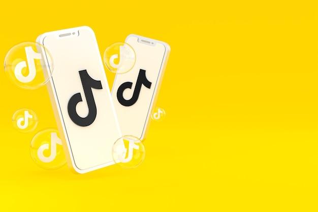 Tiktok-pictogram op scherm smartphone of mobiele telefoon 3d render op gele achtergrond