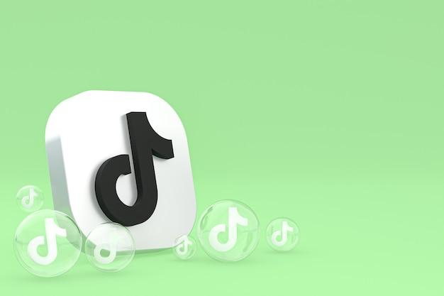 Tiktok-pictogram op scherm smartphone of mobiele telefoon 3d render op groene achtergrond