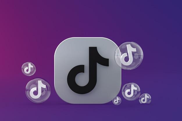Tiktok-pictogram op scherm smartphone of mobiele telefoon 3d render op paarse achtergrond