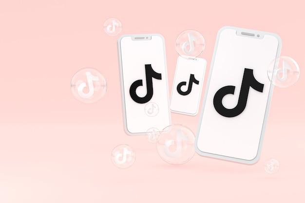 Tiktok-pictogram op scherm smartphone of mobiele telefoon 3d render op roze achtergrond