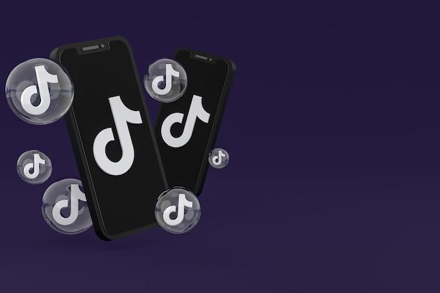 Tiktok-pictogram op scherm smartphone of mobiele telefoon 3d render