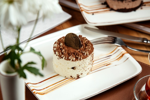 Tiramisu met mascarponekaas en chocolade op plaat