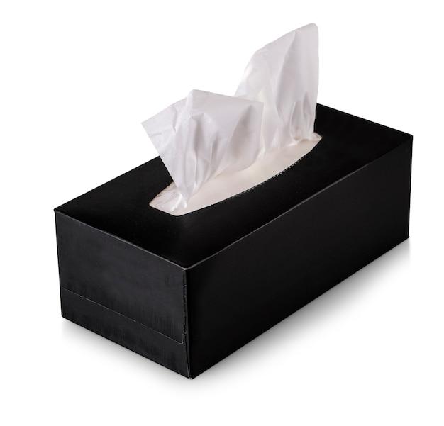 Tissue box mock up zwarte tissue box geïsoleerd op wit Premium Foto