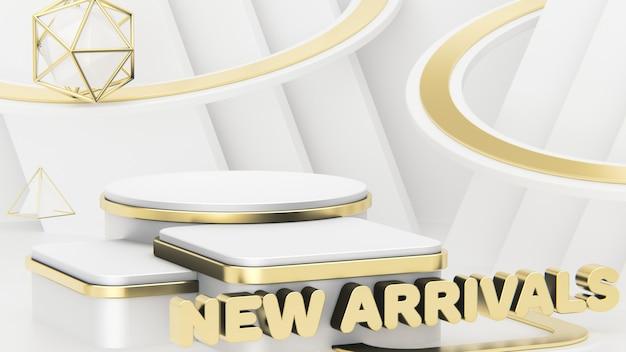 Titel new arrivals. vitrine voor het weergeven van drie producten. prachtige abstracte achtergrond