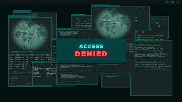 Toegang geweigerd - hud of virtuele interface van hacker die servergegevens probeert te hacken