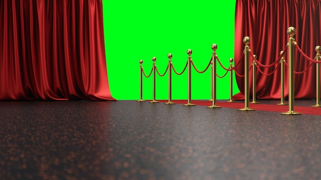 Toekenningsscène met open rode gordijnen op een groen scherm. rood fluwelen tapijt tussen gouden heggen